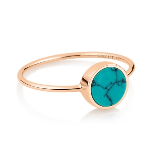 18 carat rose gold ring and turquoise<br>by Ginette NY