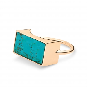 18 carat rose gold and turquoise ring  Ginette NY