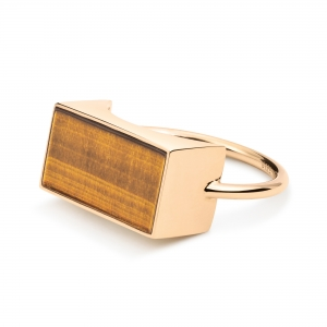 18 carat rose gold and tiger eye ring  by Ginette NY