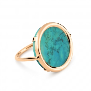 18 carat rose gold and turquoise ring  by Ginette NY