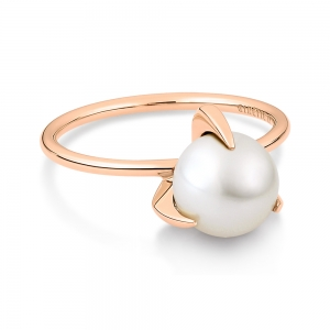 18 carat rose gold ring and white pearl <br>by Ginette NY