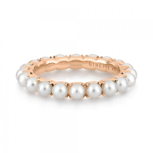 18 carat rose gold ring and pearls <br>by Ginette NY