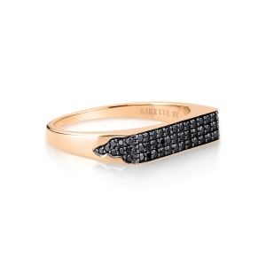 18 carat rose gold and black diamonds ring<br>by Ginette NY