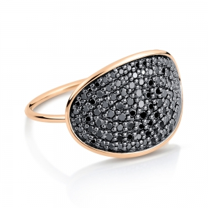 18 carat rose gold ring and black diamonds<br>by Ginette NY