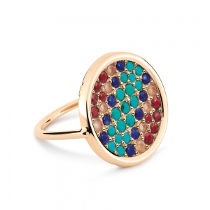 18 carat rose gold and lapis, turquoise, red jasper, peach aventurine ring  Ginette NY