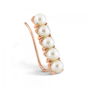18 carat rose gold solo earring and pearls <br>by Ginette NY