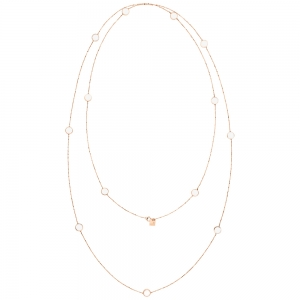 sautoir or rose 18 carats et agate blanche<br>by Ginette NY