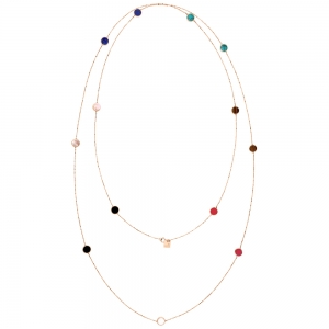sautoir or rose 18 carats et multi pierres<br>by Ginette NY