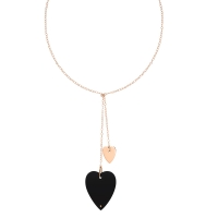 angèle onyx and gold lariat