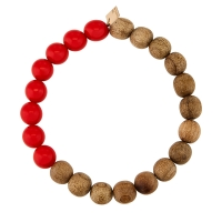 heal coral and wood bead bracelet