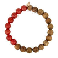heal red agate and wood bead bracelet