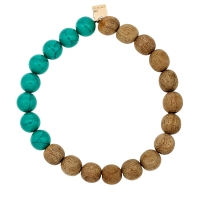 heal turquoise and wood bead bracelet
