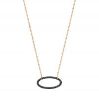 ellipse black diamond necklace