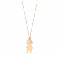 little boy with bead on chain