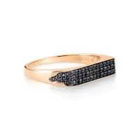 baguette black diamond signet ring