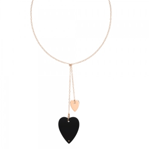 18 carat rose gold necklace and black onyx by Ginette NY