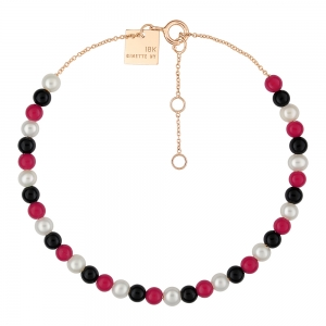 bracelet or rose 18 carats, pearl, black onyx and red coralby Ginette NY