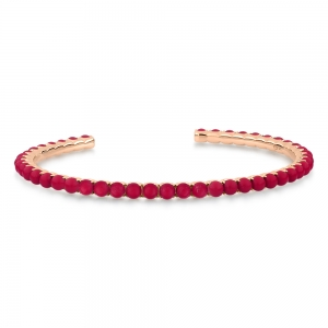 18 carat rose gold bracelet and red coral by Ginette NY