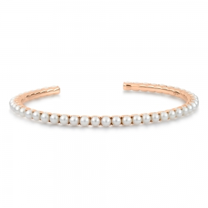 18 carat rose gold bracelet and pearls by Ginette NY