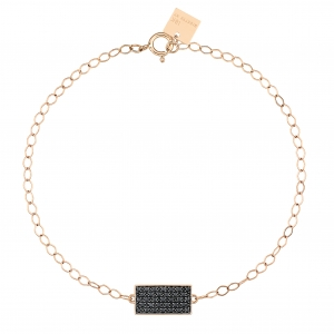 bracelet or rose 18 carats avec diamants noirs by Ginette NY