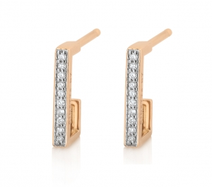18 carat rose gold and diamonds hoopsby Ginette NY