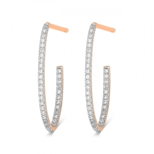 18 carat rose gold hoops and diamonds by Ginette NY