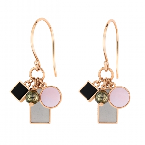 18 carat rose gold earrings with grey moonstone, pink mother of pearl, onyx and pyriteby Ginette NY