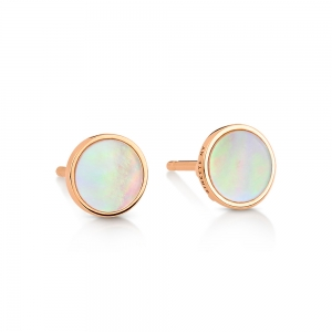 18 carat rose gold studs and pink MOPby Ginette NY