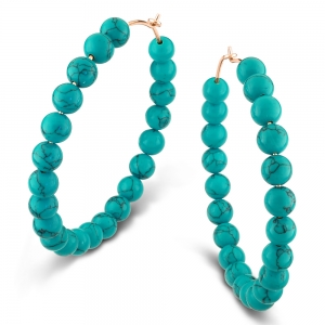 18 carat rose gold hoops and turquoise by Ginette NY