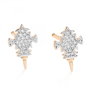 boucles d'oreilles or rose 18 carats et diamants (0,10 ct) by Ginette NY