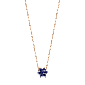 18 carat rose gold necklace and sapphires by Ginette NY