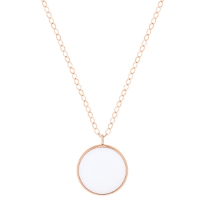 jumbo ever white agate disc on chain