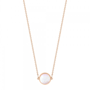 18 carat rose gold necklace and pink MOPby Ginette NY