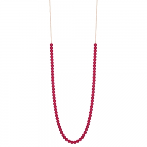 18 carat rose gold necklace and red coral by Ginette NY