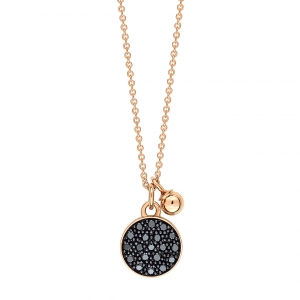 18 carat rose gold necklace with black diamondsby Ginette NY