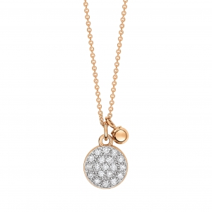 18 carat rose gold necklace with diamondsby Ginette NY
