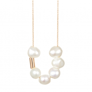 18 carat rose gold necklace with pearlby Ginette NY
