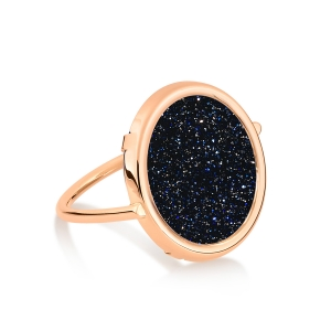 18 carat rose gold ring and blue sand stoneby Ginette NY