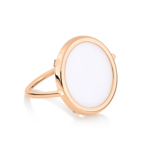 18 carat rose gold ring and white agate by Ginette NY