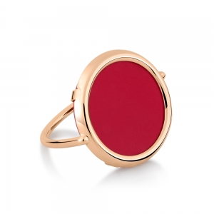 18 carat rose gold ring and red coral by Ginette NY