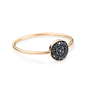 18 carat rose gold ring with black diamondsby Ginette NY