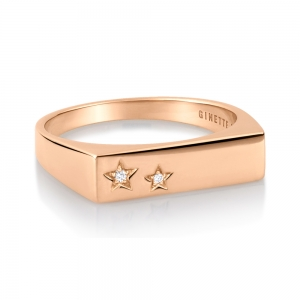 18 carat rose gold ring and diamonds by Ginette NY
