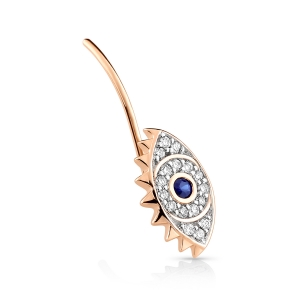 18 carat rose gold solo stud sapphire and diamondsby Ginette NY