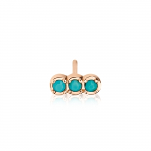 18 carat rose gold solo stud with turquoiseby Ginette NY