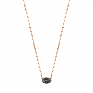 18 carat rose gold necklace and black diamonds by Ginette NY